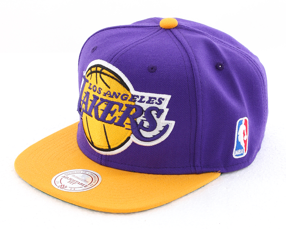mitchell and ness los angeles lakers logo xl snapback cap