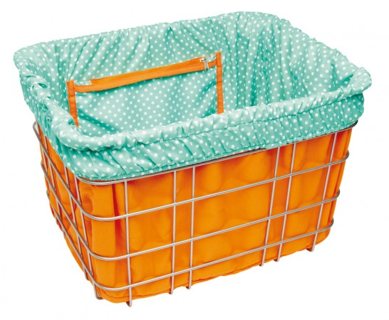 BASKET LINER orange/light blue polka dots