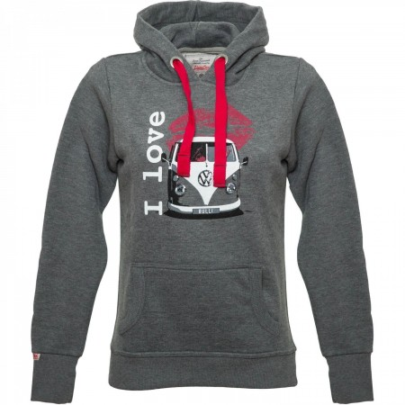 BULLI LOVE VW BULLI WOMENS Hoodie 2019 dark grey/white