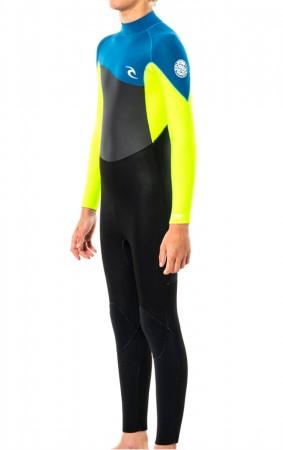 JUNIOR OMEGA 4/3 BACK ZIP Full Suit 2022 neon lime