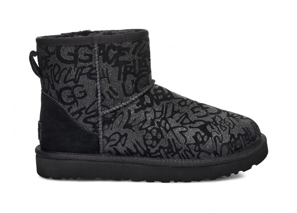 CLASSIC MINI SPARKLE GRAFFITI Stiefel 2020 black