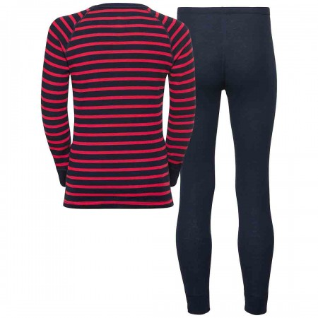 SET ACTIVE ORIGINALS KIDS Longsleeve & Pant 2019 diving navy/hibiscus/stripes
