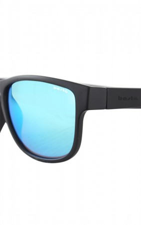 MARYSOL Sunglasses black matte/blue green mirror