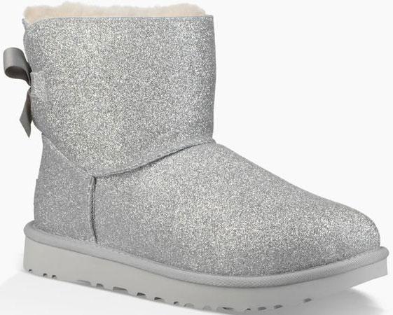 Ugg MINI BAILEY BOW SPARKLE Boots 2019 silver   Warehouse One aabc49ebc1